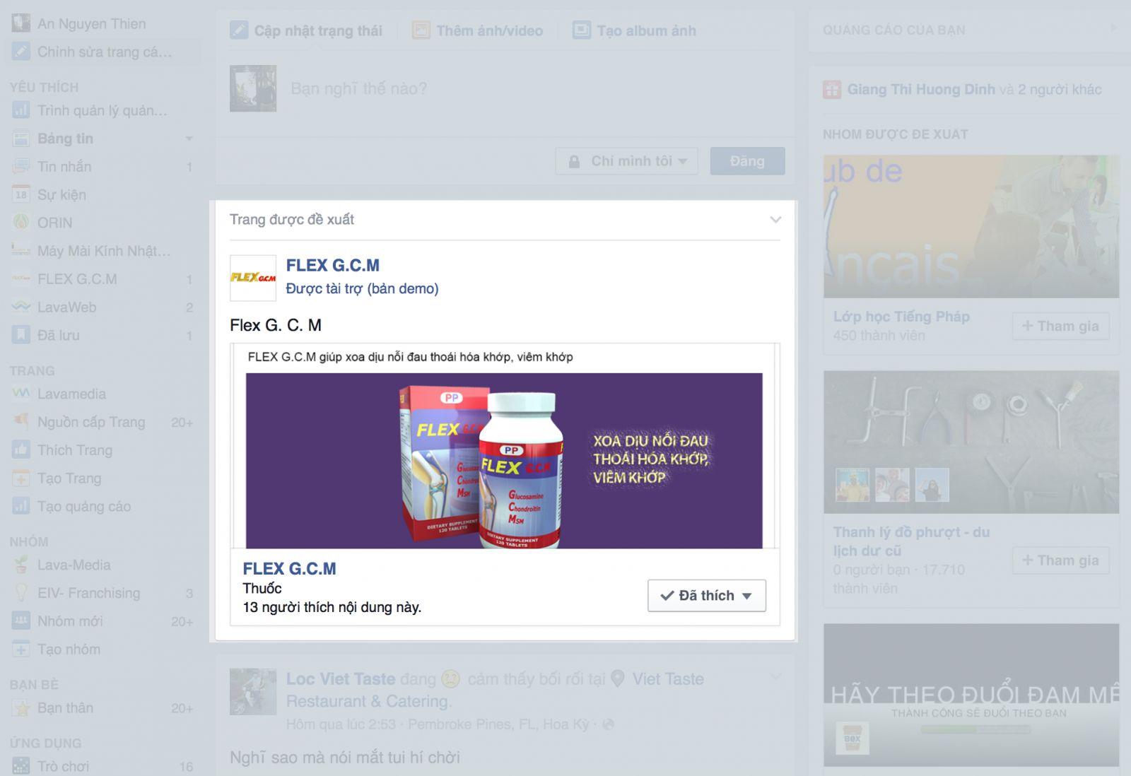 quang cao facebook tren news feed cot giua